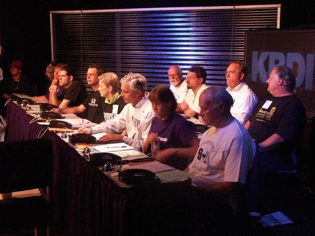 Volunteers from Colorado 9-11 Visibility answer phones during the historic broadcast of 9-11 Press for Truth on KBDI Channel 12 in Denver.